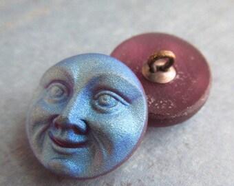 Light Amethyst AB Moon Face Czech Button, 18mm Czech Glass Button, 18mm Button, Moon Button, Czech Glass Moon, Czech Buttons, BUTMOONLTAM