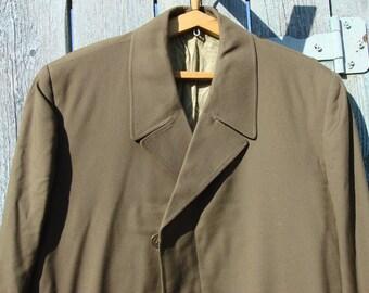 Vintage 70s Mens MILITARY Jacket KHAKI Green Police cloak - coats Maxi Coat Outerwear Uniforms USSR original