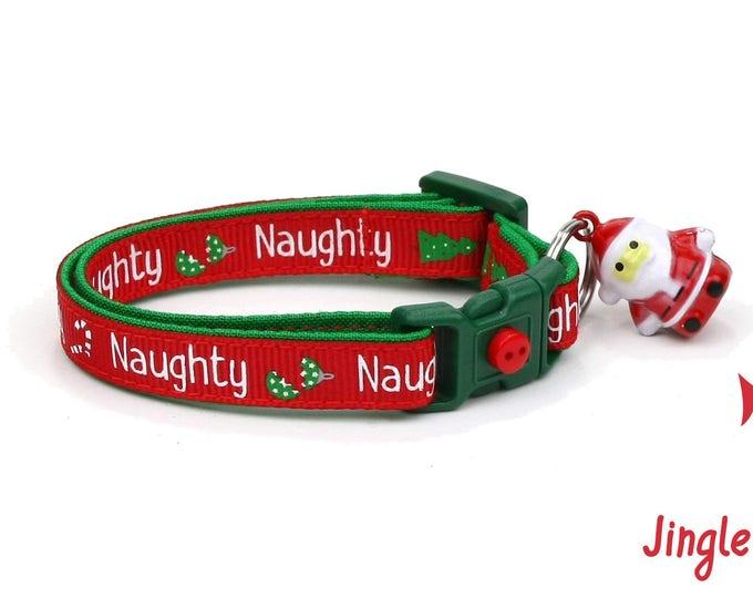 Christmas Cat Collar - Santa's Naughty List - Small Cat / Kitten Size or Large(standard) Size Collar