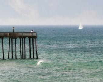 Ocean Photograph, Fishing Pier, Beach House Art, Sailboat, Seagull, White, Blue, Green, Teal, Sea, Seacoast, Nautical Decor - Sailing Away