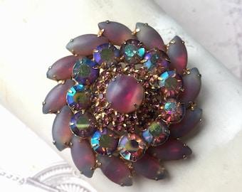 Vintage Aurora Borealis Pink Rhinestone Brooch, Unmarked Elegant Large Brooch, Estate Jewelry