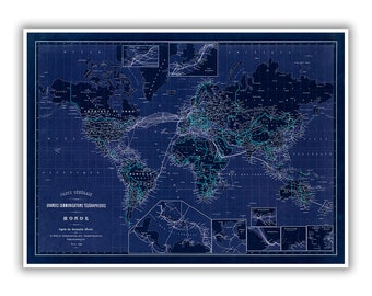 Telegraph Lines Map 1898, Old 1800s World Map, Vintage Style Print, 2 Color Options, Blueprint Style,  Retro Home Decor