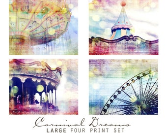 Carnival Colorful Dreamy Surreal Whimsical Fantasy 8x8 Art Print Set Sale