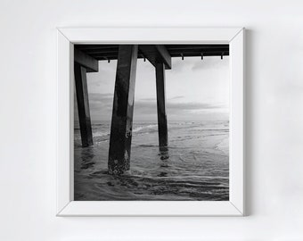 Black and white photo print - Tybee Island pier photograph - Large ocean wall art - Square beach print - Minimalist modern art - 8x8+ inches