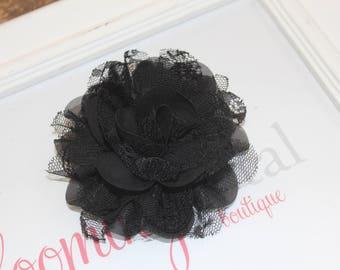 Black Lace Chiffon Flower Clip