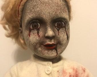 Kimmy Kee Creepy Horror OOAK Vinyl Doll with Bleeding Eyes!