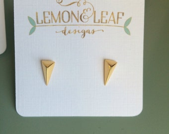 Gold vermeil On Point stud earring, triangle earring, arrow earring