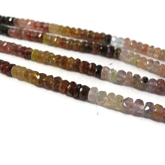 Multi Tourmaline Beads, Faceted Rondelles, 4mm - 5mm Natural Gemstones, Over 70 Beads, 7 Inch Strand (R-Tou6)