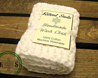 White Cotton Washcloth - White Washcloth - White Facecloth - White Dishcloth - Cotton Dishcloth - Cotton Face Cloth - Crochet Washcloth