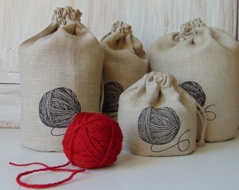 Set of 4, natural linen fabric bag, sewing, storage, sew, favor, gift bag, sewing, crafts, clew