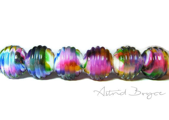 Rainbow Ribbed Rounds Artisan Lampwork Glass Bead Set for Jewelry