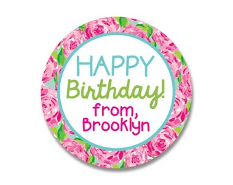 Birthday Stickers, Birthday Gift Tags, Flowers, Roses, Personalized Gift Labels, Elegant Gift Tags,Lilly Rose