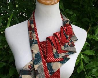 RecycledNeckties ~ Necktie Necklace - RED Floral Tie / RED Polka Dot Jos A Bank Tie - Women's Silk Necktie - Necktie Scarf - Accessories