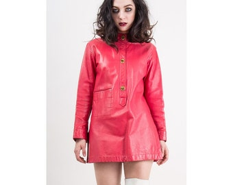Vintage Bonnie Cashin for Sills / 1960s hot pink leather tunic / Angola leather mini / Turn lock toggles / S