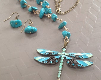 Turquoise Dragonfly Pendant Necklace Set
