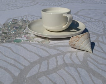 """Linen tablecloth - white with grey leaves pattern - Ready to ship, size 37""""x56"""", with GIFT"""