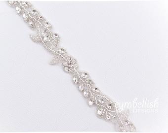Leaf Vine Bridal Belt-  All the Way Around thin vine bridal sash with Clasp Closure - vintage Bridal Belt - beaded boho Wedding Belt-