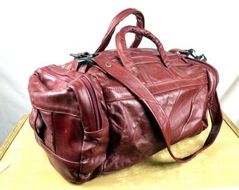 Vintage 80s Red Maroon Leather Mini Duffel Bag Purse - Mexico