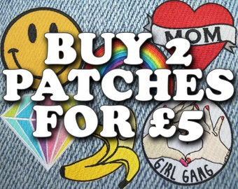 """Buy 2 Patches for GBP 5.00! - See """"Item Details"""" for more info - Excludes holographic patches - Iron On Patch Embroidery"""