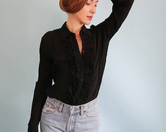 Vintage Black Pleated Blouse with Ruffles!