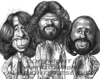 Bee Gees (The Gibb Brothers) Poster Caricature Art Print