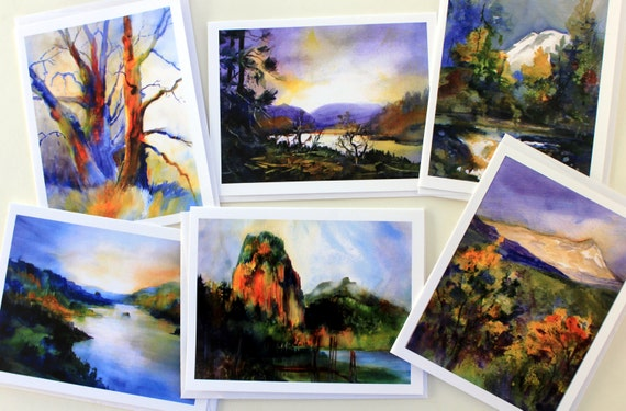 Beacon Rock Note Cards - landscape - Columbia Gorge - note cards - watercolor - Bonnie White - landscape note cards - card set