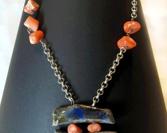 Long necklace with coral necklace and pendant Raku