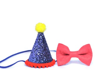 1st Birthday Boy Felt Birthday Hat and Bow Tie set ||  First Birthday Party Hat || First Birthday Hat || Cake Smash Hat Pet Birthday