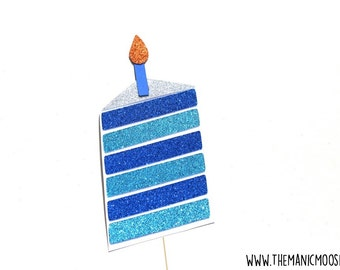 Birthday Cake Photo Booth Props ~ Baby Shower Prop ~ Blue ~ Glitter