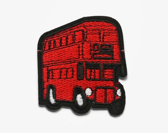 Patches Iron On - London Bus Patch - Double Decker Bus - London Patches - Red Patch - Vehicle Patches - England Patch - British Patches UK