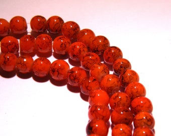marbled glass - 6 mm orange marble - PG57 100 beads