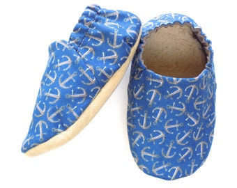 Nautical Baby Boy Shoes, Anchor Baby Booties, Baby Soft Shoes, Slip On Baby Shoes, Baby Boy Gift, Baby Boat Shoes