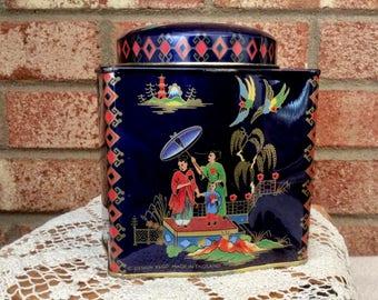 Daher Designer Tin Box Container Asian Oriental Motif Dark Blue Made in England