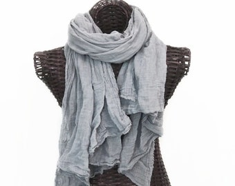 XL Nomad Scarf, Fog Gray Scarf, Extra Large Scarf, Lightweight Gray Cotton Scarf, Extra Long Scarf, Mens Gray Scarf for Men, Gray Fall Scarf
