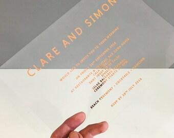 SAMPLE PACK-Acetate Wedding invitation, Rose gold wedding Invitation, Copper wedding Invitation, Clear wedding Invitation