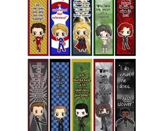 Avengers Bookmarks - Thor, Loki, Ironman, Captain America, Hawkeye, Black Widow, Bruce Banner, Coulson - Avengers Chibi Bookmarks