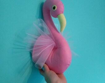 Faux Taxidermy Felt Flamingo Animal Wall Art