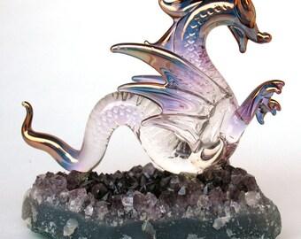 Dragon Serpent Figurine Blown Glass on Amethyst Crystal