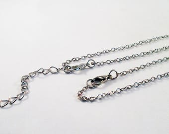 SP48 - Silver substrate necklace 44cm or 40cm extension chain / Silver Chain Necklace of 44cm or 40cm with extender chain