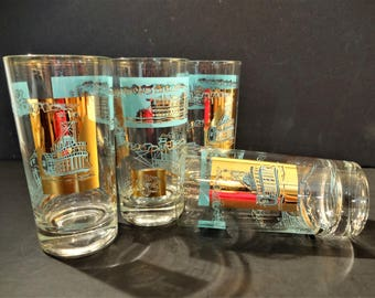 """Vintage Libbey Southern Comfort """"Steamboat"""" Highball Glasses -  Set of 4 - Aqua/Turquoise and  22K Gold Decoration -Tumblers-Vintage Barware"""