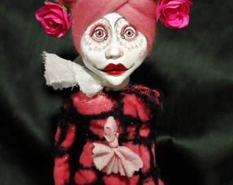 ooak art doll, pink, rose