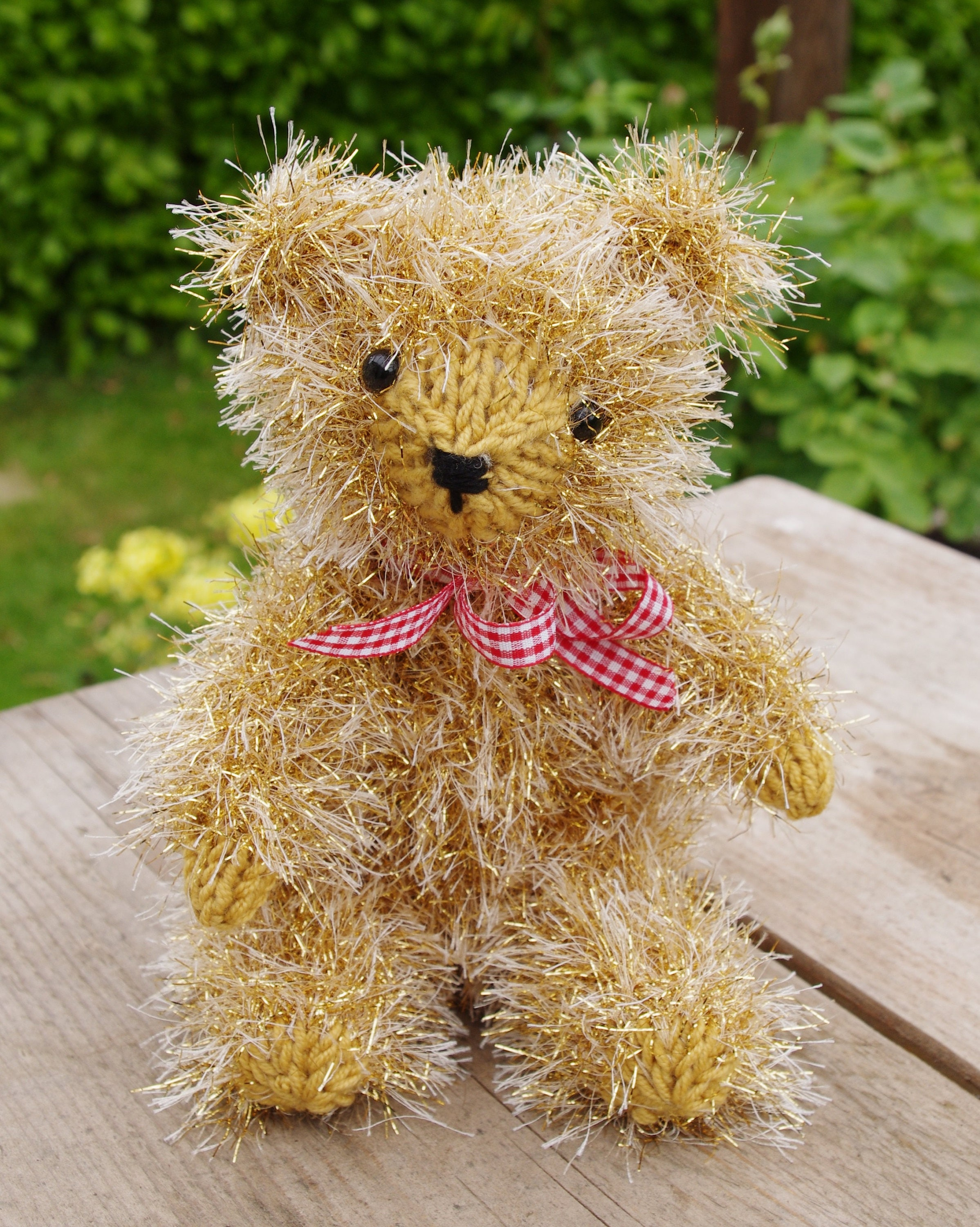 Easy Christmas Teddy Bear Toy Gift Knitting Pattern King Cole Tinsel ...