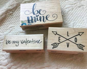3 Love Valentines Day Rubber Stamps - brand new