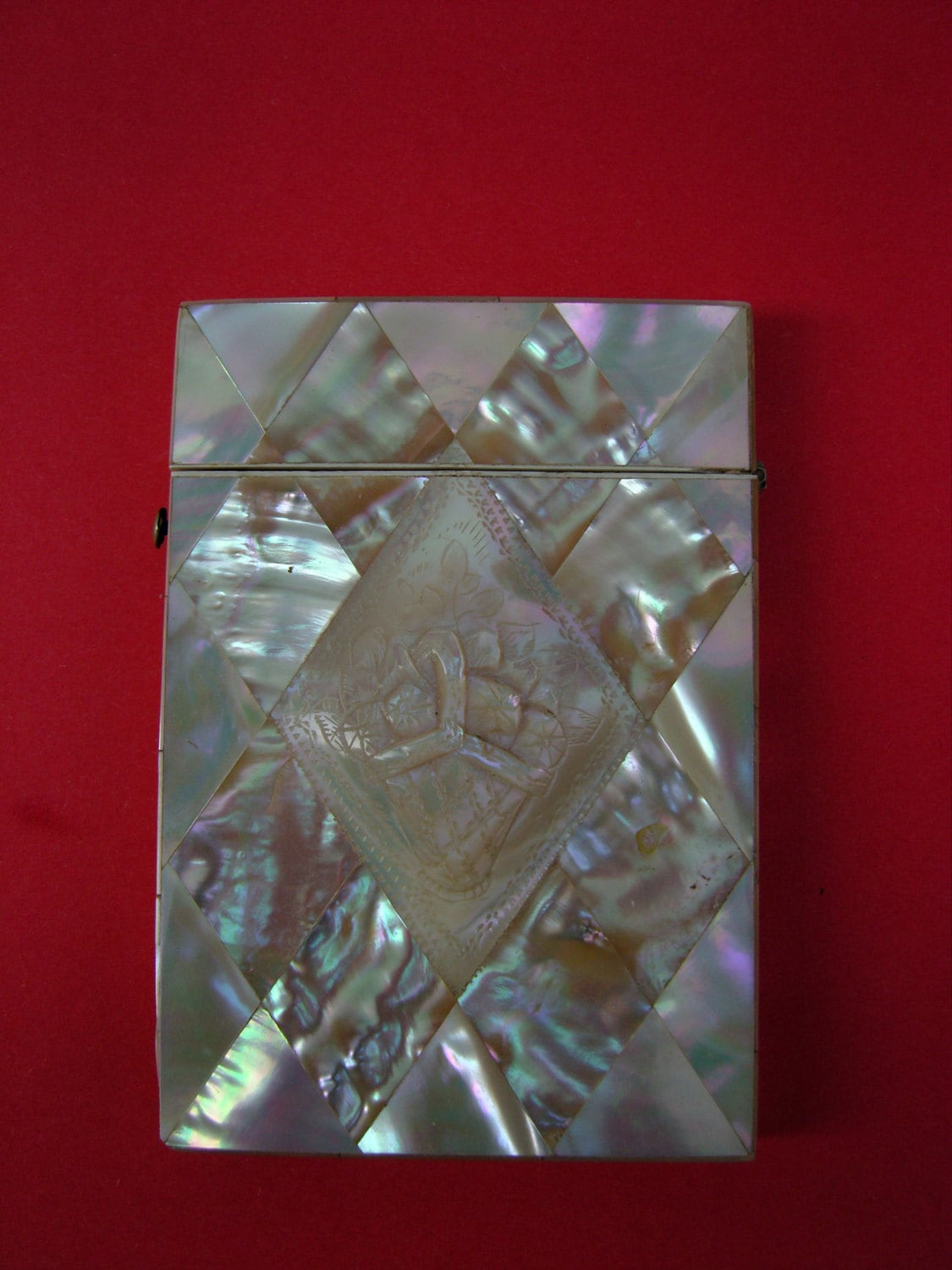 Antique Victorian Mother of Pearl Calling Card Case 19th