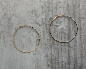 Hammered gold filled D hoop earrings