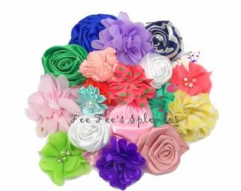 10 pc - Grab Bag * DIY Hair flower - Fabric flower - Headband flower- Hair accessories- Headband supply