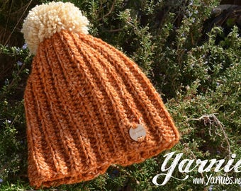 Cozy Bobble Pom Pom Hat - Knit / Crochet beanie - Harvest Pumpkin Orange / Beige Bobble Great for the Autumn Fall Winter Festive Season