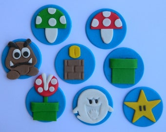 8 edible SUPER MARIO BROS disc game character cake decoration topper gumpaste sugarcraft birthday wedding anniversary engagement