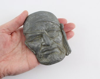 Vintage Pewter Pirate Face Belt Buckle - One Eyed Willie Pirate Face Nautical Accessory