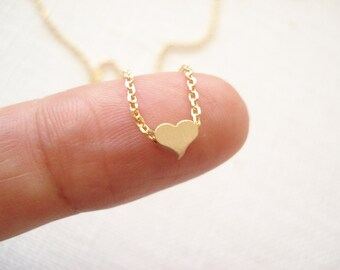 Tiny heart necklace...minimalist Gold, Rose gold or Silver, simple handmade jewelry, bridal jewelry, flower girl, bridesmaid gift